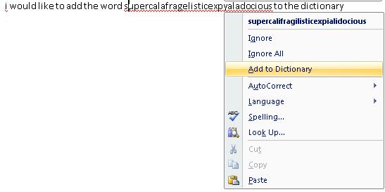 Añadir al diccionario de Word