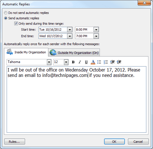 Cómo configurar la respuesta fuera de la oficina en Outlook